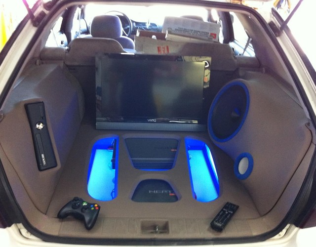 Honda Accord Wagon custom audio visual build using Hertz audio including an Xbox and Vizio TV. Explicit Customs Melbourne Suntree Viera Florida