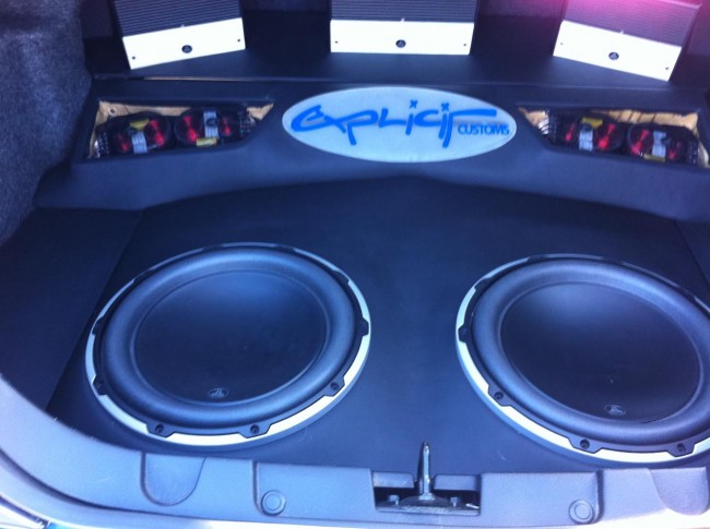 Ford Mustang car stereo with JL Audio speakers and amplifiers. Explicit Customs Melbourne Suntree Viera Florida