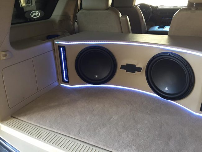 tahoe box subwoofer chevy jl audio installation build explicit customs custom melbourne fl