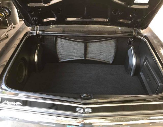 chevy chevelle car stereo installation in Melbourne with JL Audio subwoofer and amps full trunk restoration by Explicit Customs