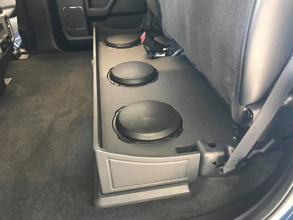 Ford F-250 Under Rear Seat Subwoofer Box Installation with ...