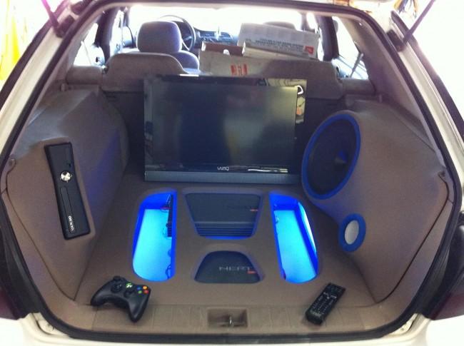 Honda Accord Wagon custom audio visual build using Hertz audio including an Xbox and Vizio TV. Explicit Customs Melbourne Suntree Viera Florida