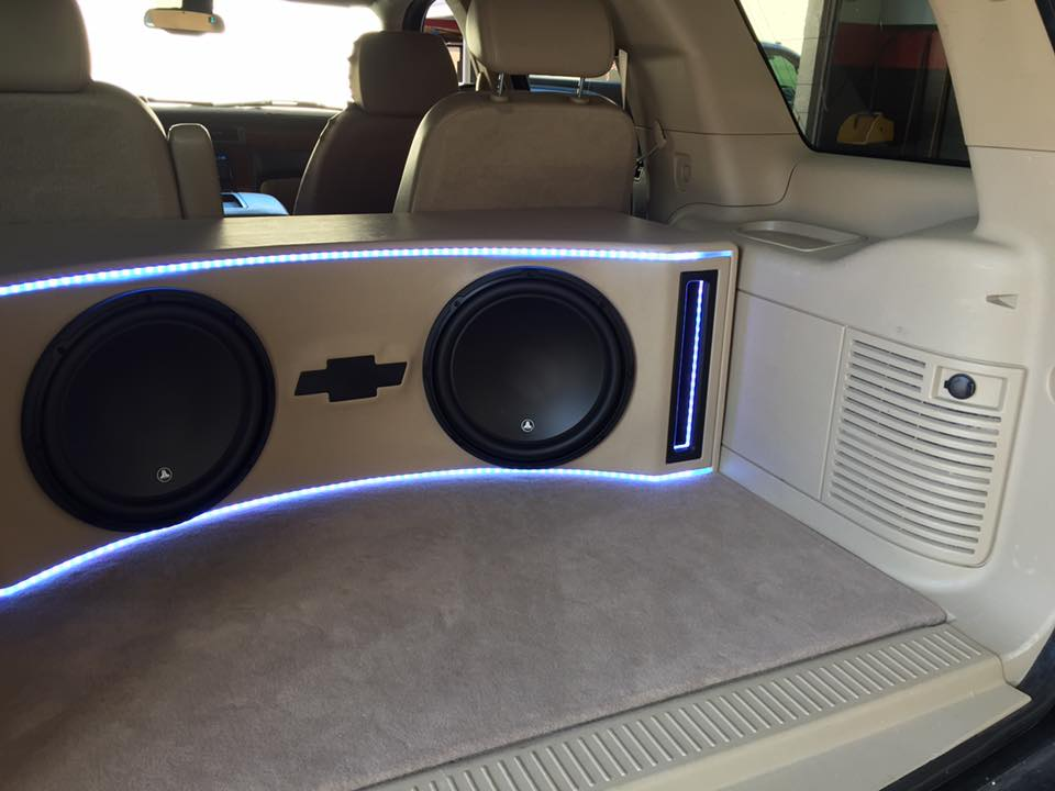 Bed Of A Truck >> Chevy Tahoe JL Audio Subwoofer Box Build and Installation ...