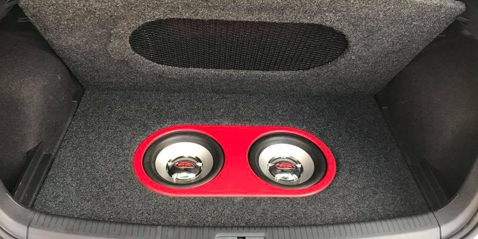 VW Golf fiberglass trunk subwoofer system by Explicit Customs Melbourne