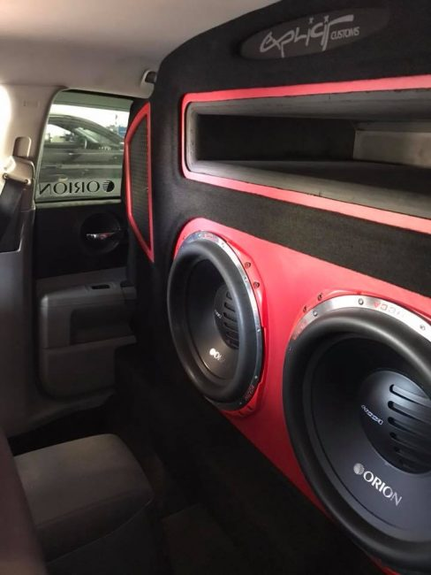 dodge charger ported wall car stereo installation with Orion HCCA subs and amps by Explicit Customs car stereo in Melbourne