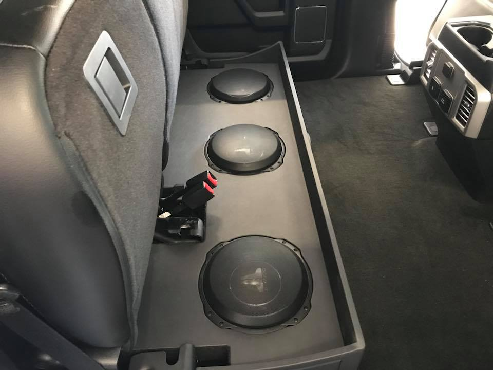 Ford F Subwoofer Box Installation Under Rear Seat By Explicit Customs Melbourne Fl