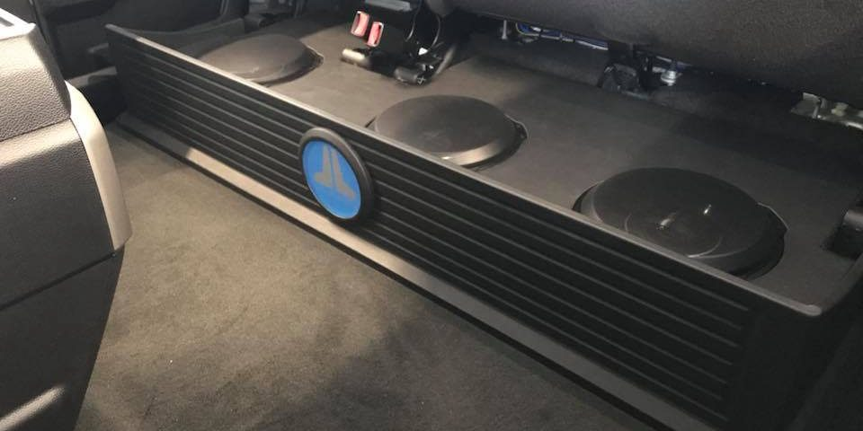 Ford F 250 Under Rear Seat Subwoofer Box Installation With 3 Jl