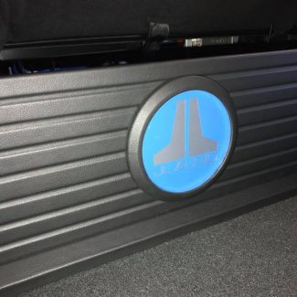 Ford F250 subwoofer box installation under rear seat by Explicit Customs Melbourne FL